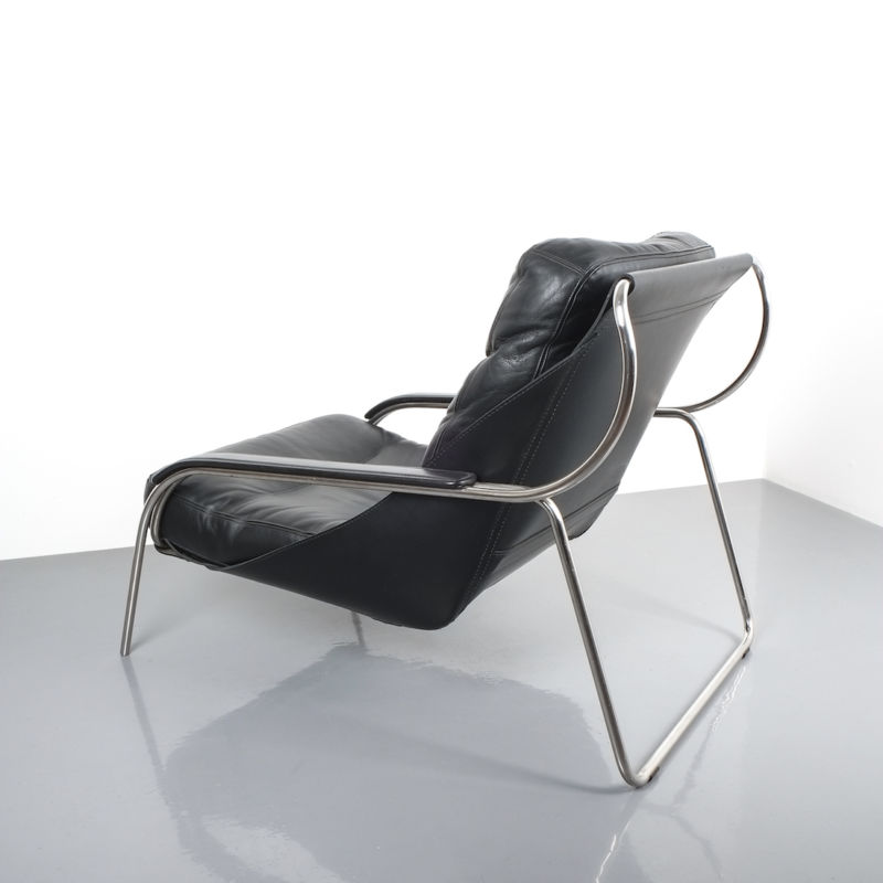 Zanuso Maggiolina Black Leather Chair_07 Kopie