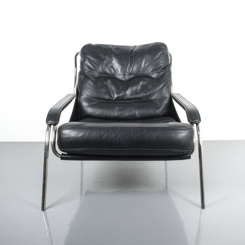 Zanuso Maggiolina Black Leather Chair_08 Kopie