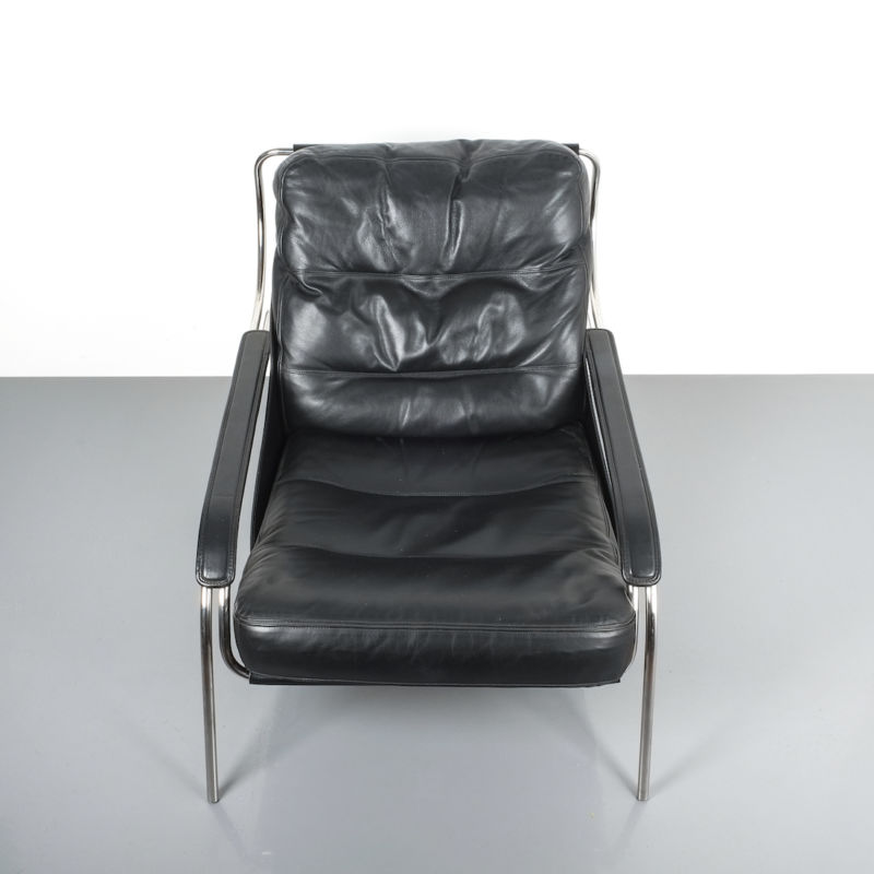 Zanuso Maggiolina Black Leather Chair_09 Kopie