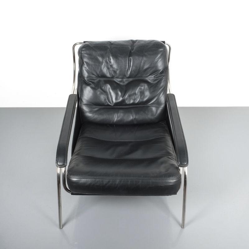 Zanuso Maggiolina Black Leather Chair_09 Kopie