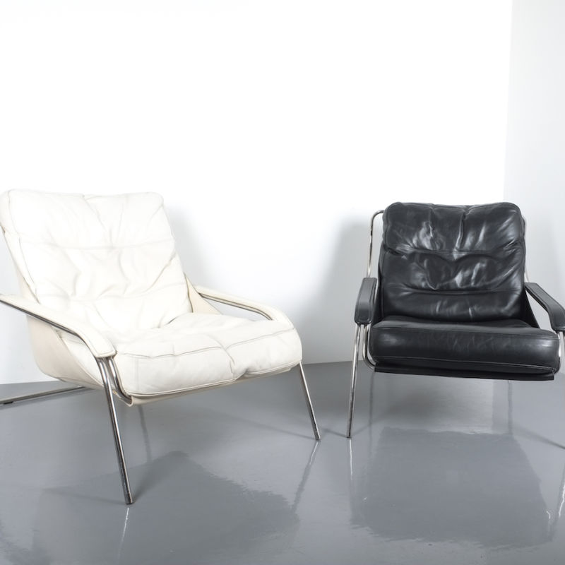 Zanuso Maggiolina Black Leather Chair_10 Kopie