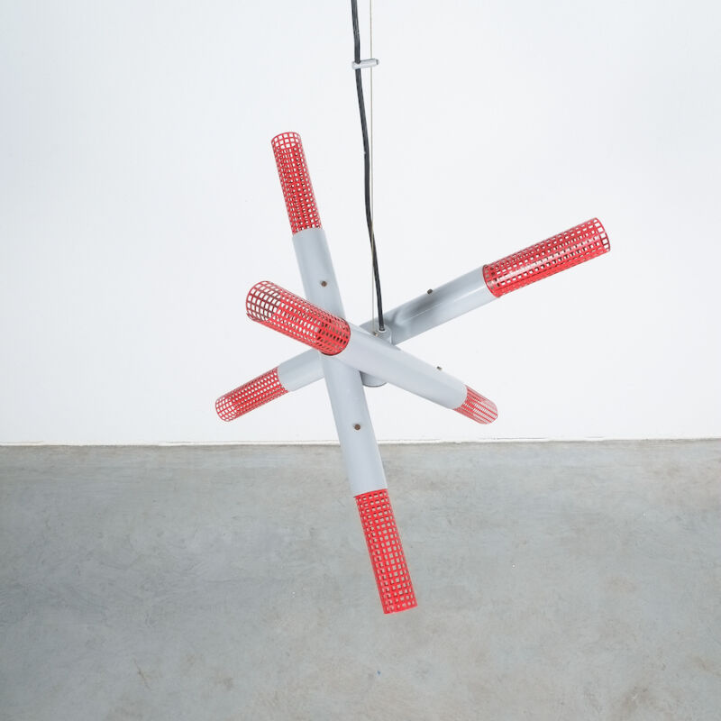 Atomic Red Gray 1980 Chandelier 02