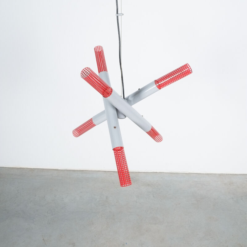 Atomic Red Gray 1980 Chandelier 03