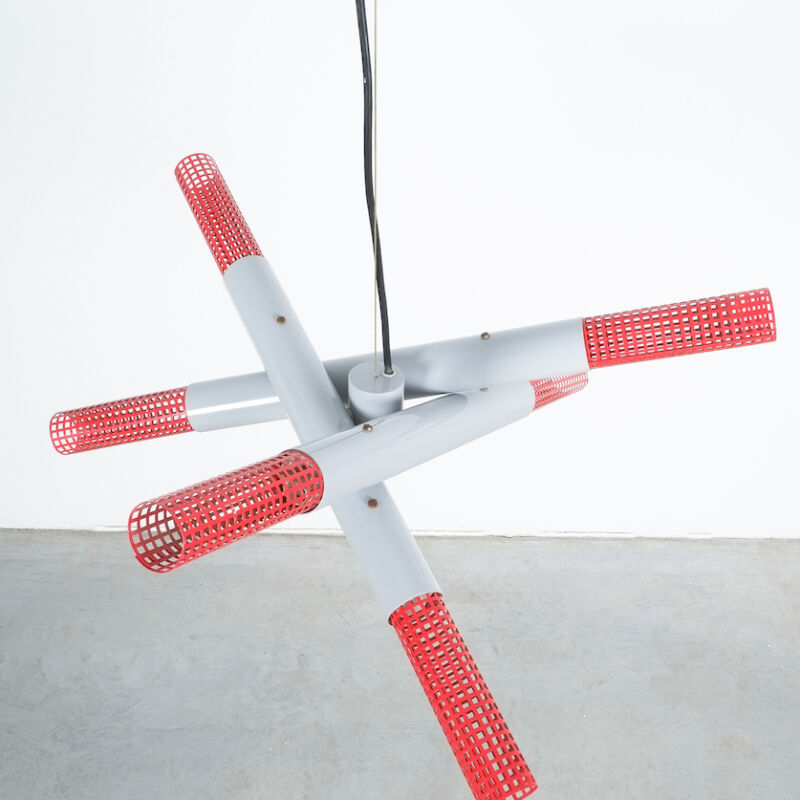 Atomic Red Gray 1980 Chandelier 06