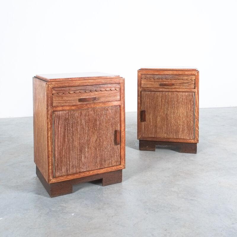 Ceruse Oak Bed Side Tables 1940 19