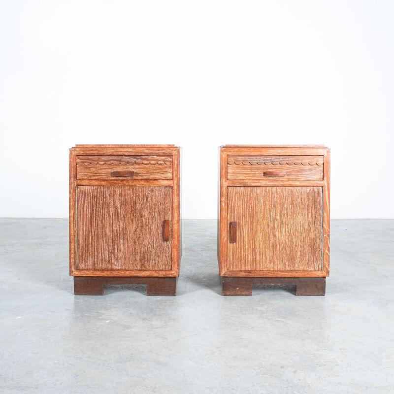 Ceruse Oak Bed Side Tables 1940 20