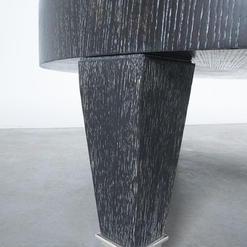 Ceruse Oak Table Black Nickel 09