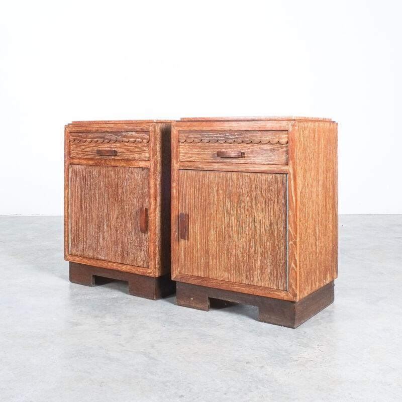 Cerused Oak Bed Side Tables 1940 08
