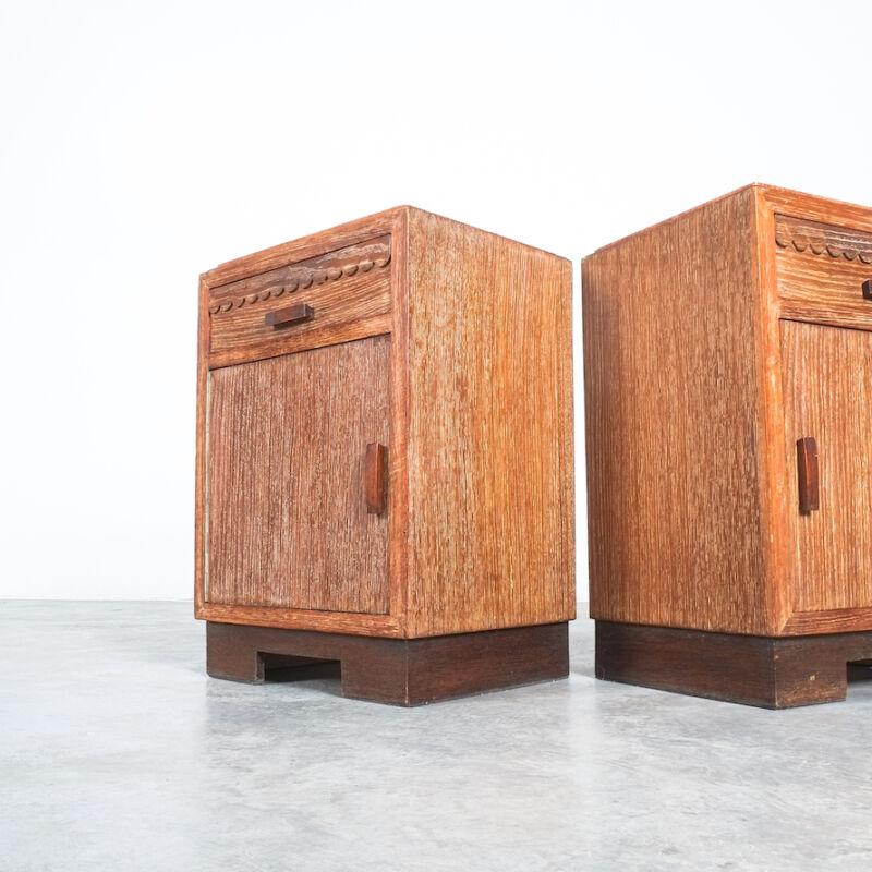 Cerused Oak Bed Side Tables 1940 09