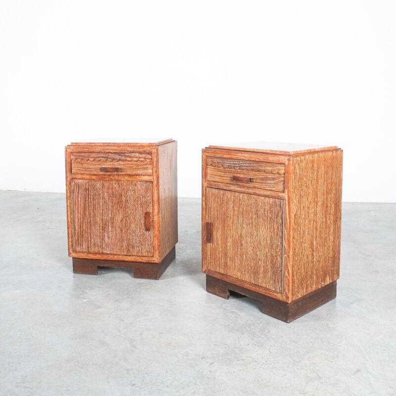 Cerused Oak Bed Side Tables 1940 13