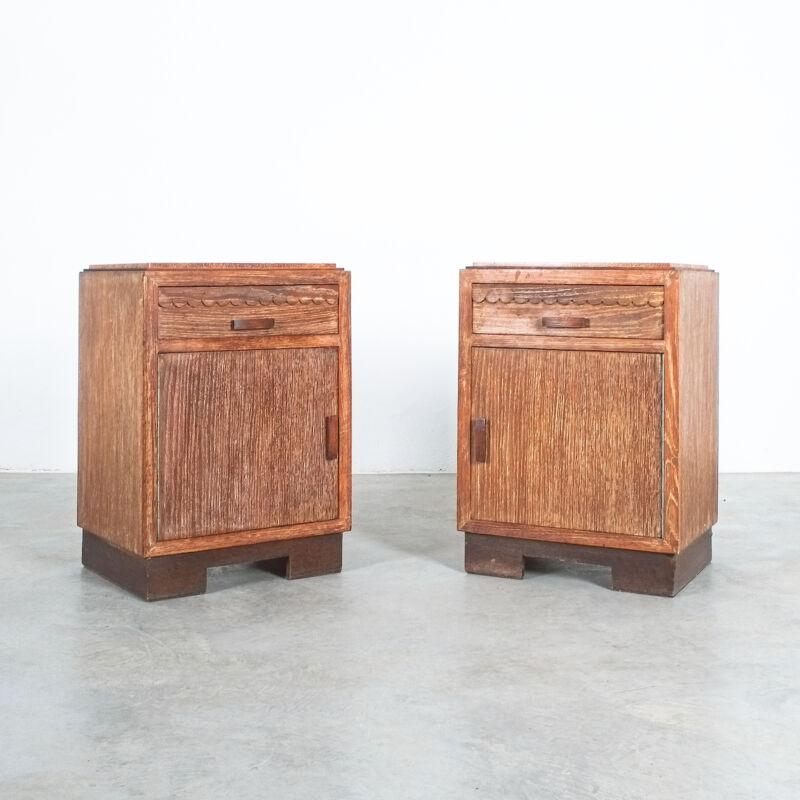 Cerused Oak Bed Side Tables 1940 17
