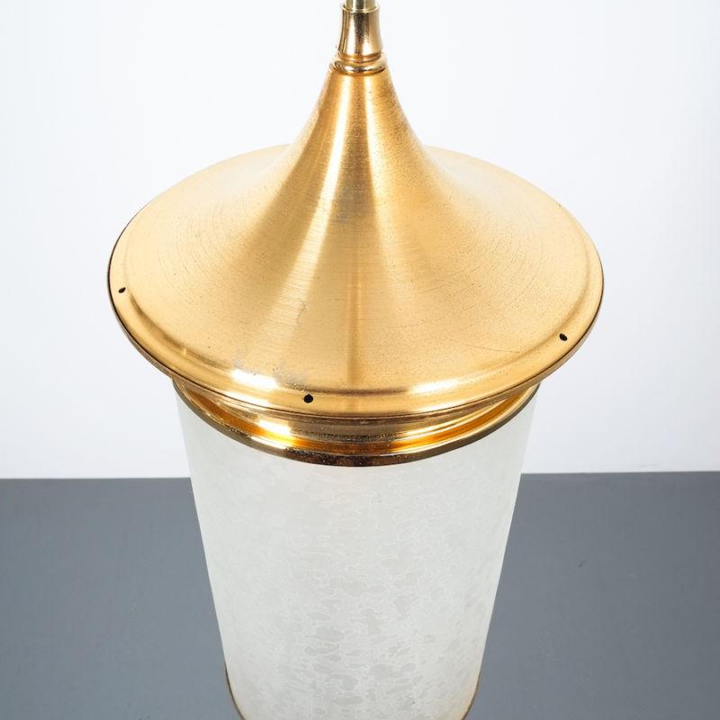 Chinosierie Pair Brass Glass Lamp 01
