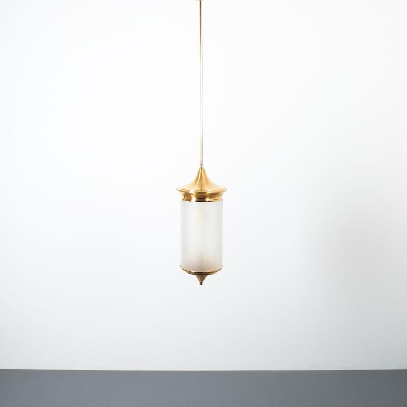 Chinosierie Pair Brass Glass Lamp 03