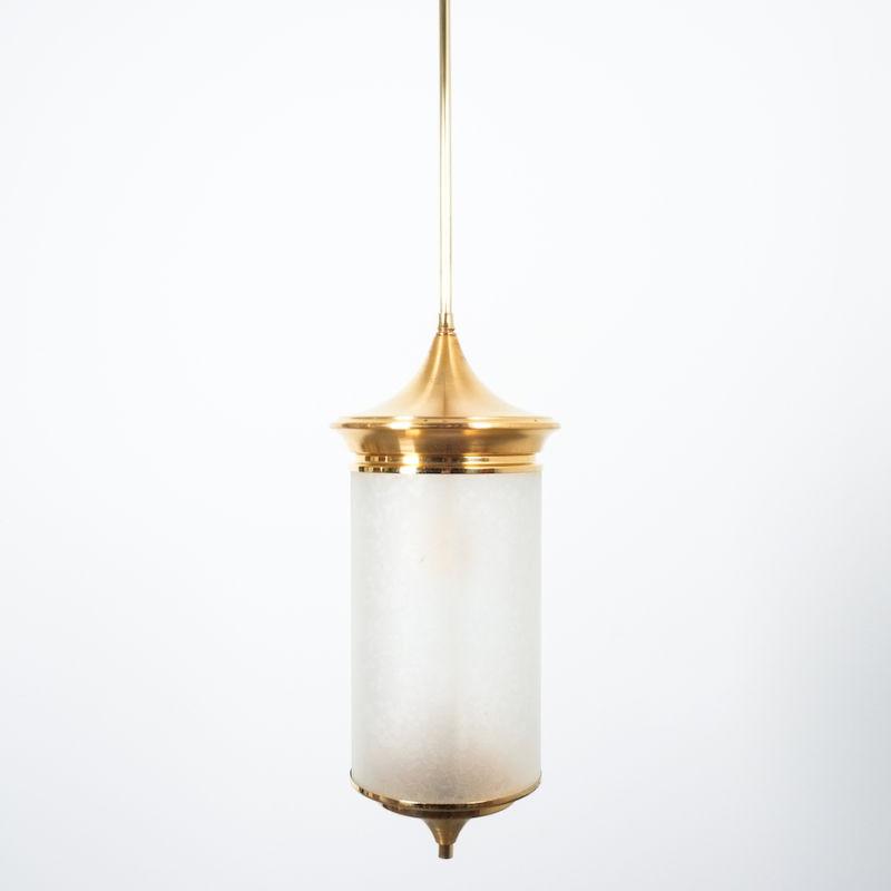 Chinosierie Pair Brass Glass Lamp 04