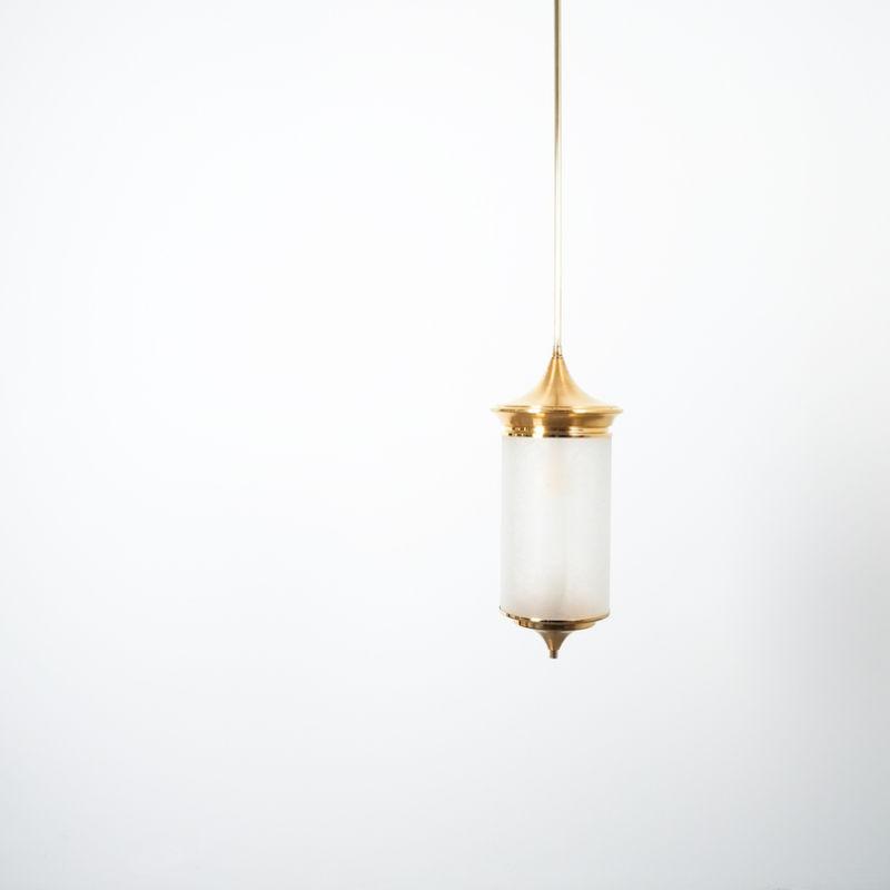 Chinosierie Pair Brass Glass Lamp 05