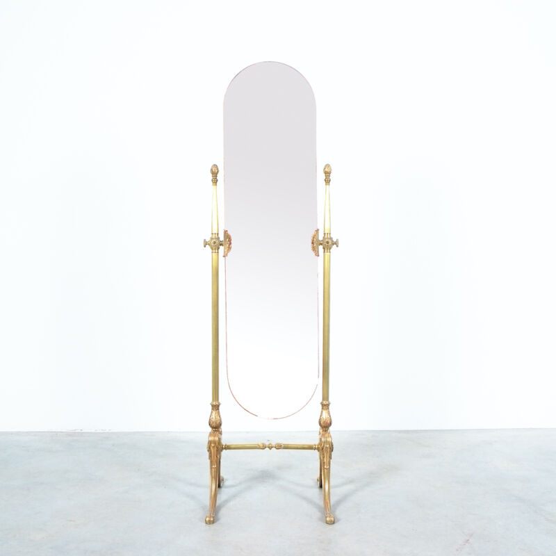 Floor Mirror Neoclassical Brass 10