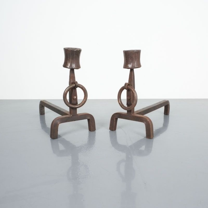 Forged Wrought Iron Andirons 03