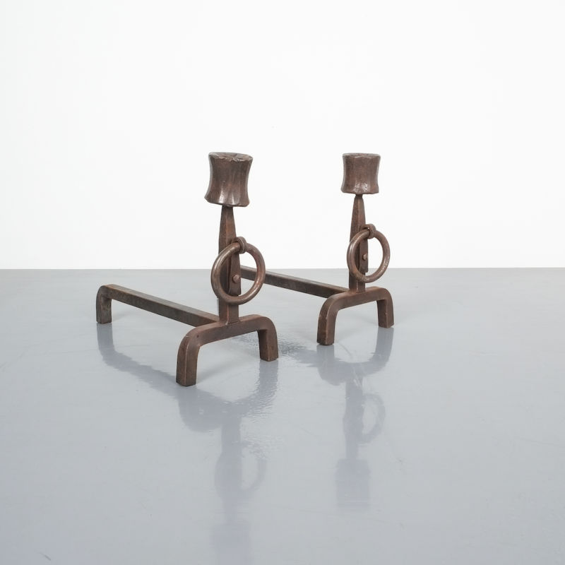 Forged Wrought Iron Andirons 05