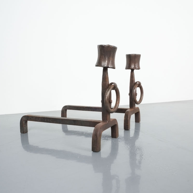 Forged Wrought Iron Andirons 07