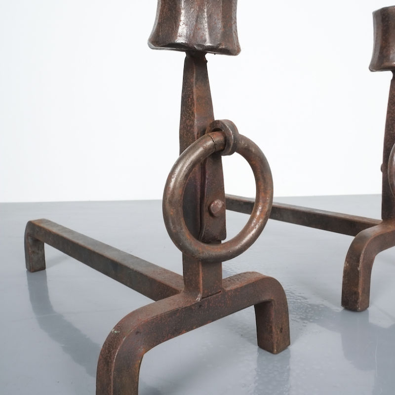 Forged Wrought Iron Andirons 08