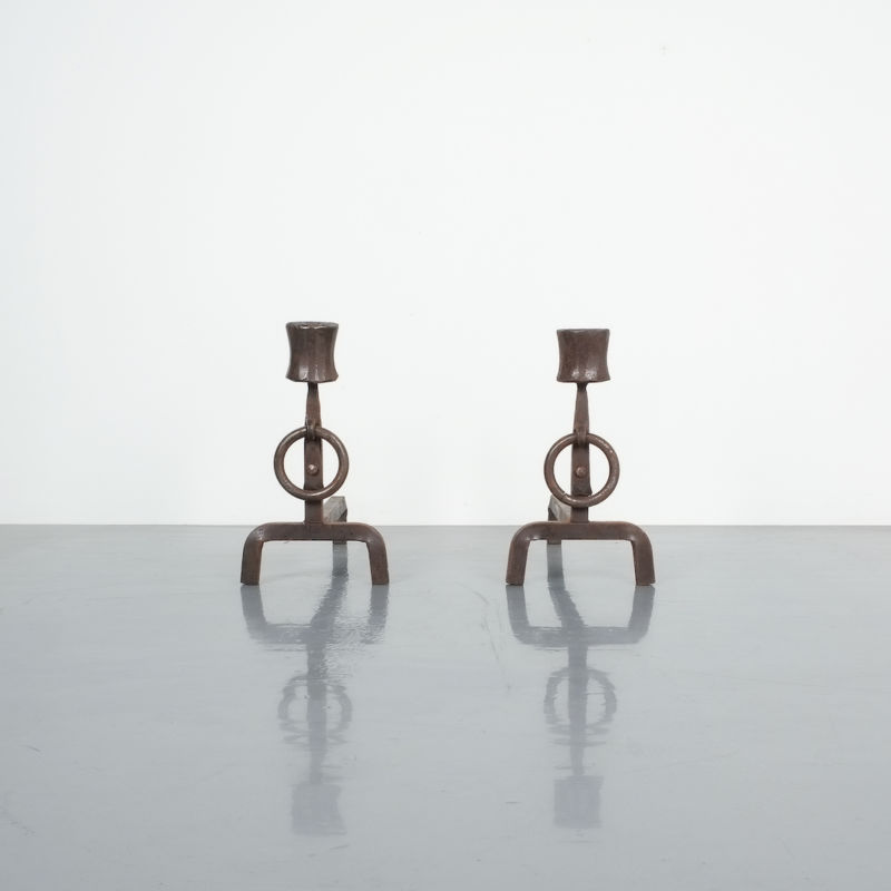 Forged Wrought Iron Andirons 1