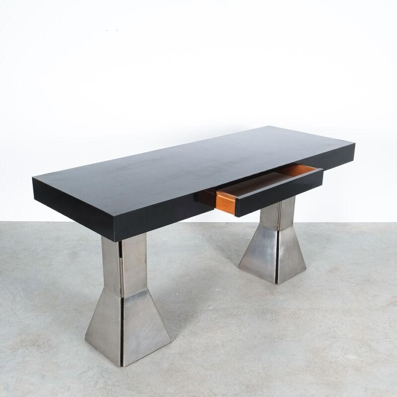 Formica Steel Black Console Desk Table 01