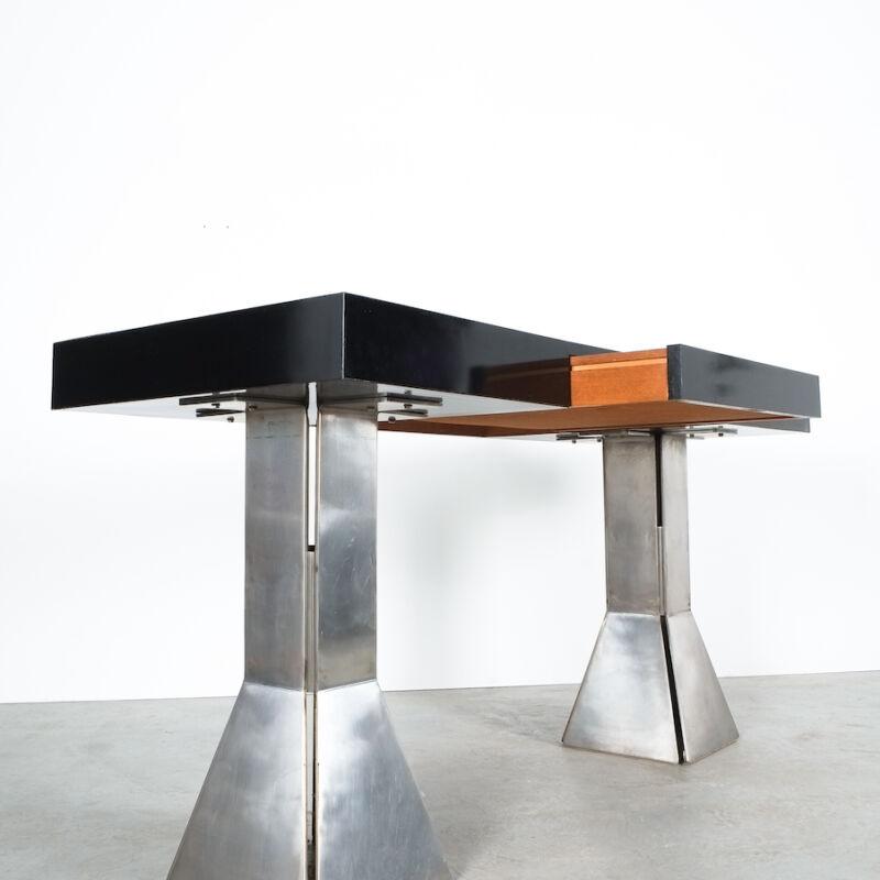 Formica Steel Black Console Desk Table 03