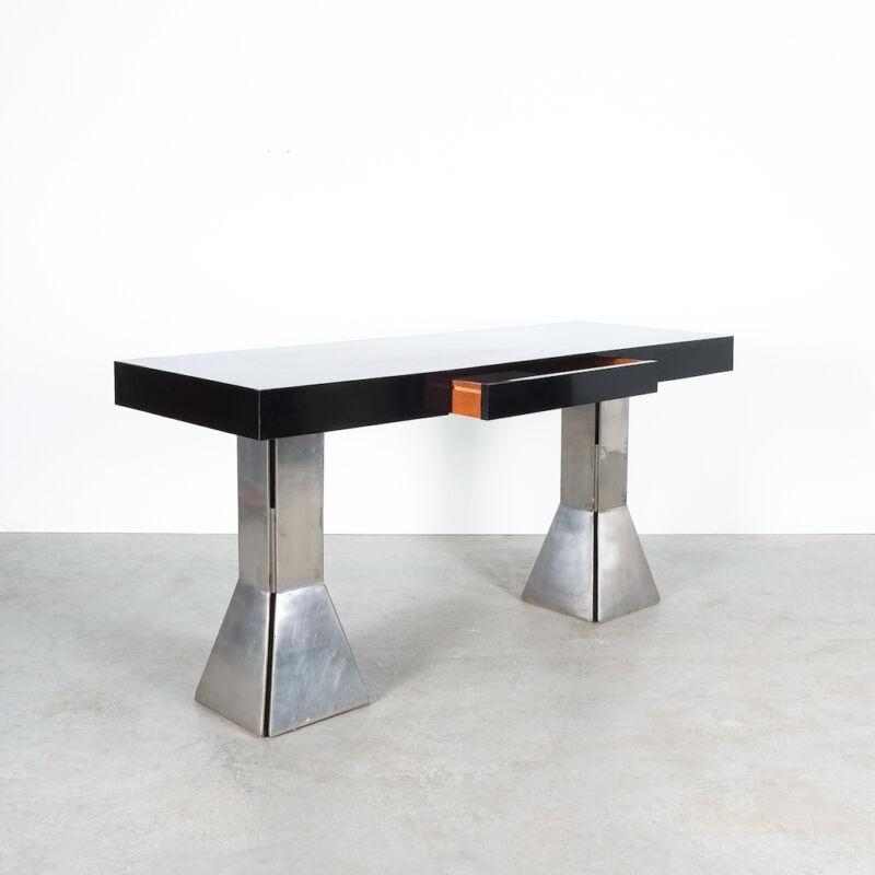 Formica Steel Black Console Desk Table 06