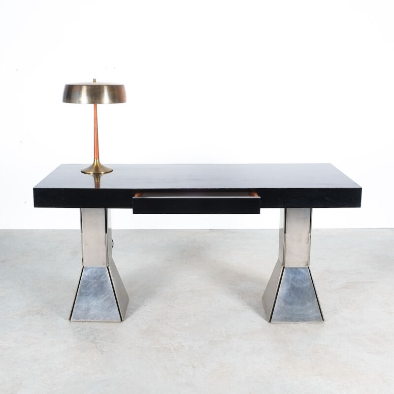 Formica Steel Black Console Desk Table 08