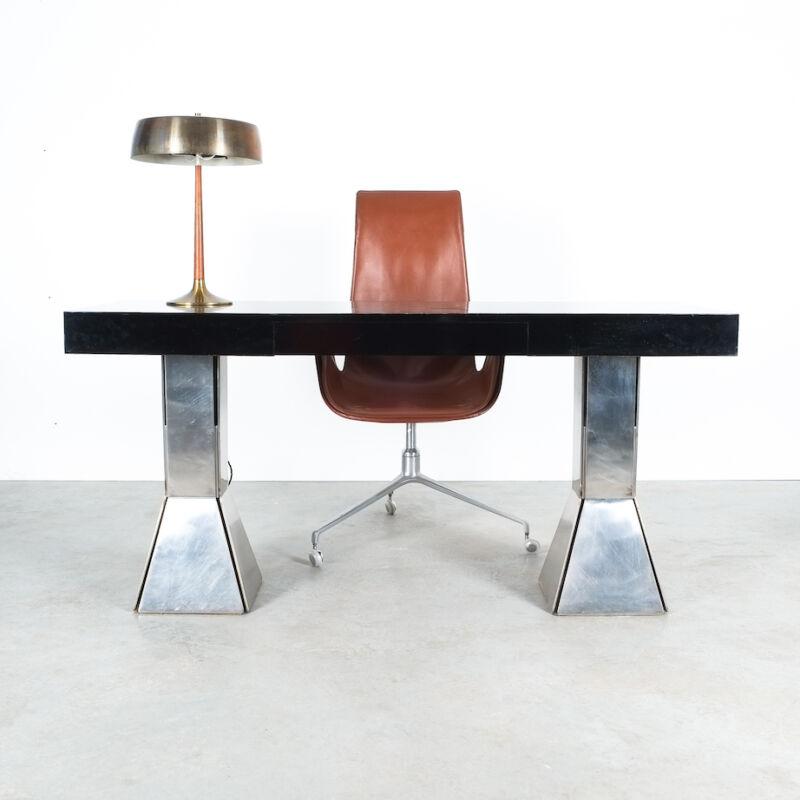 Formica Steel Black Console Desk Table 14