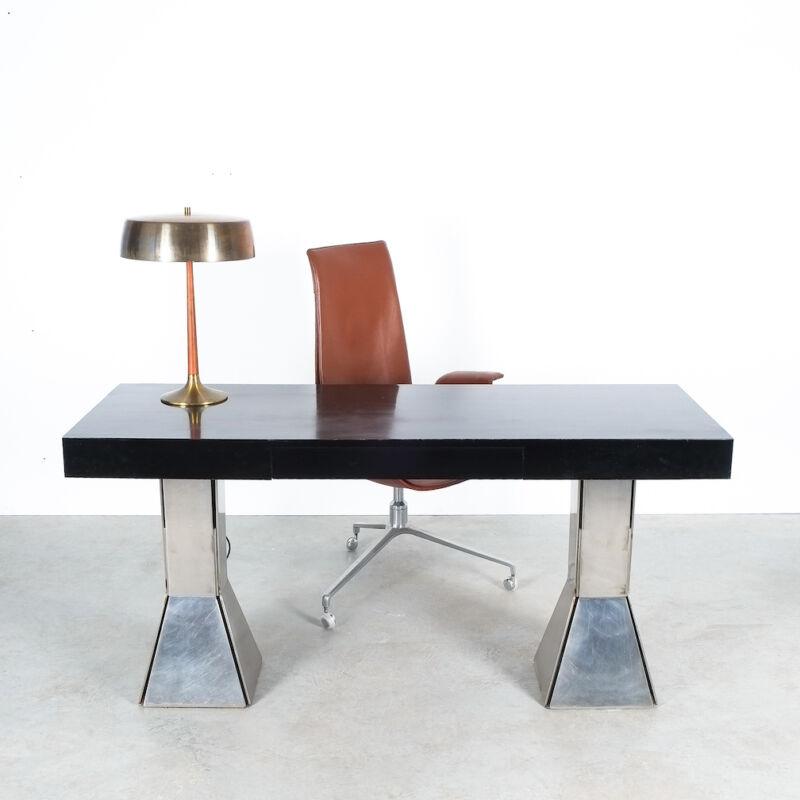 Formica Steel Black Console Desk Table 15