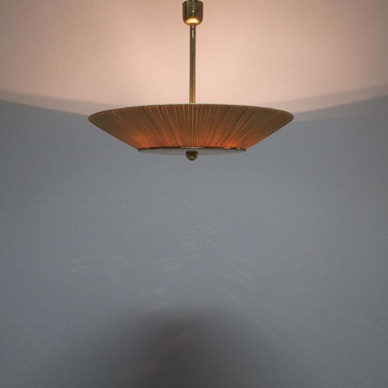 Kalmar Brass Fabric Semi Flush Lamp 01