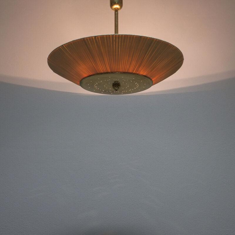 Kalmar Brass Fabric Semi Flush Lamp 02