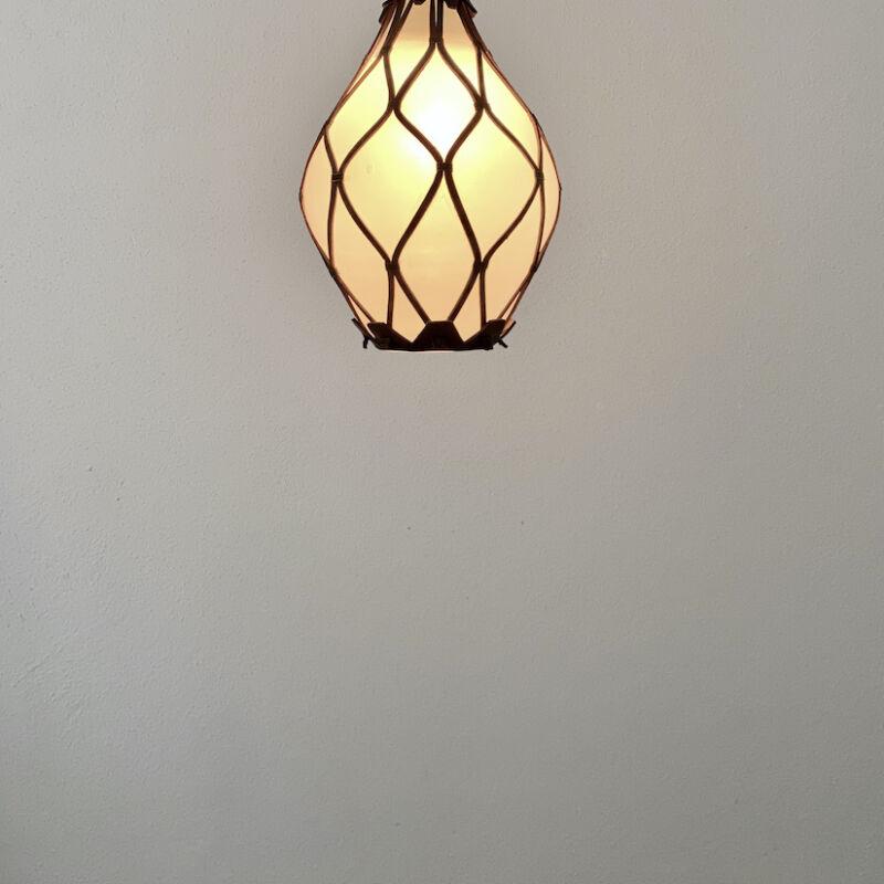 Leather Mesh Opal Glass Pendant 09