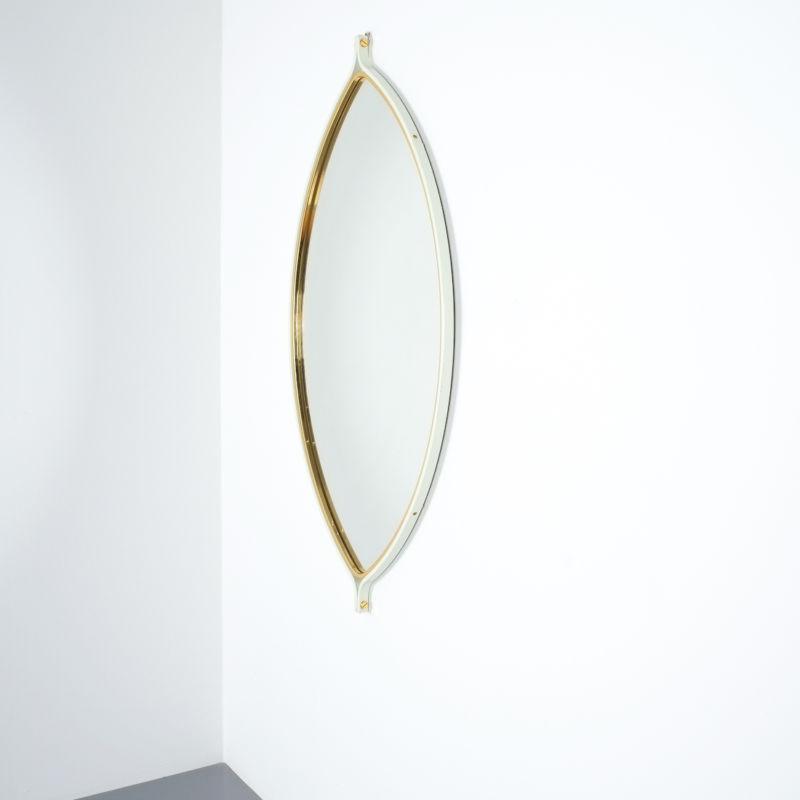 lense shaped mirror brass italy 1970 _05