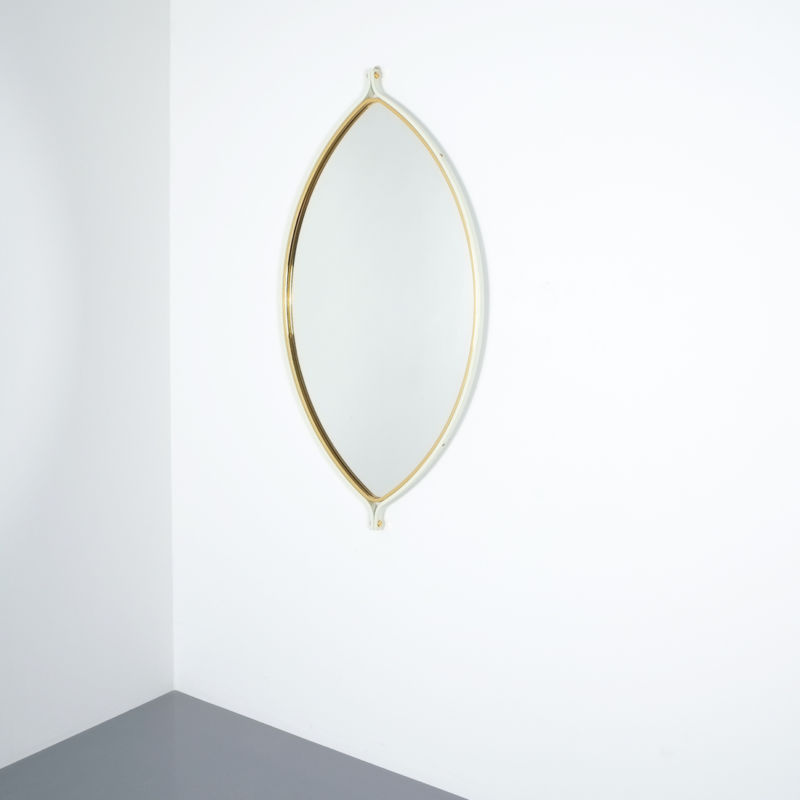lense shaped mirror brass italy 1970 _06