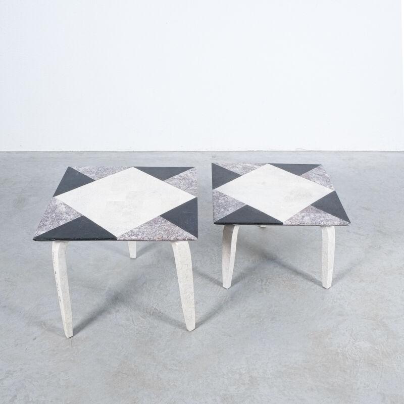 Marble Tile Tables Mosaic Pair 01