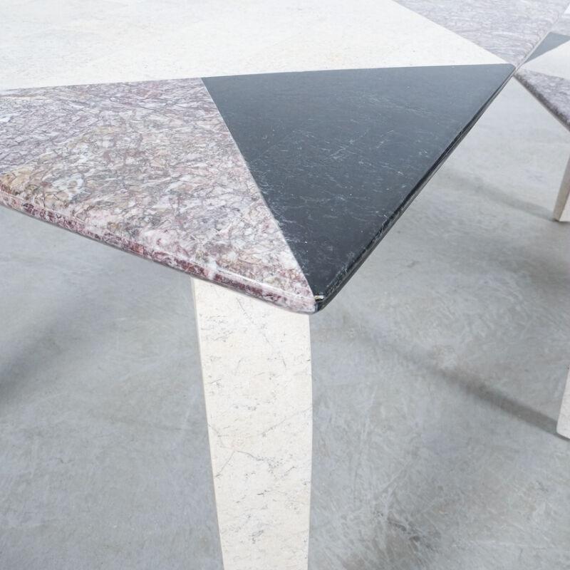Marble Tile Tables Mosaic Pair 06