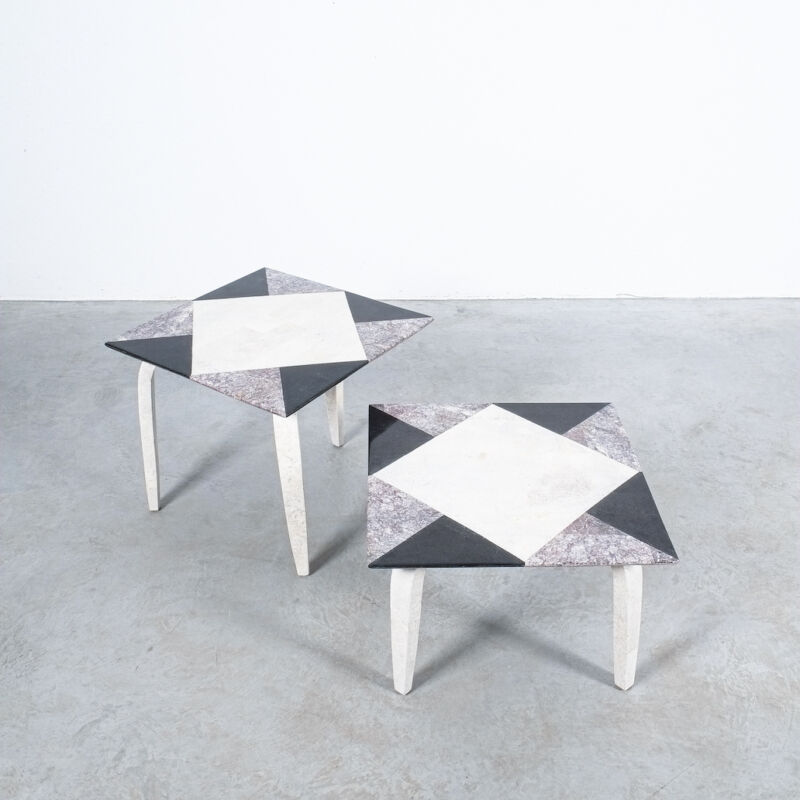 Marble Tile Tables Mosaic Pair 08