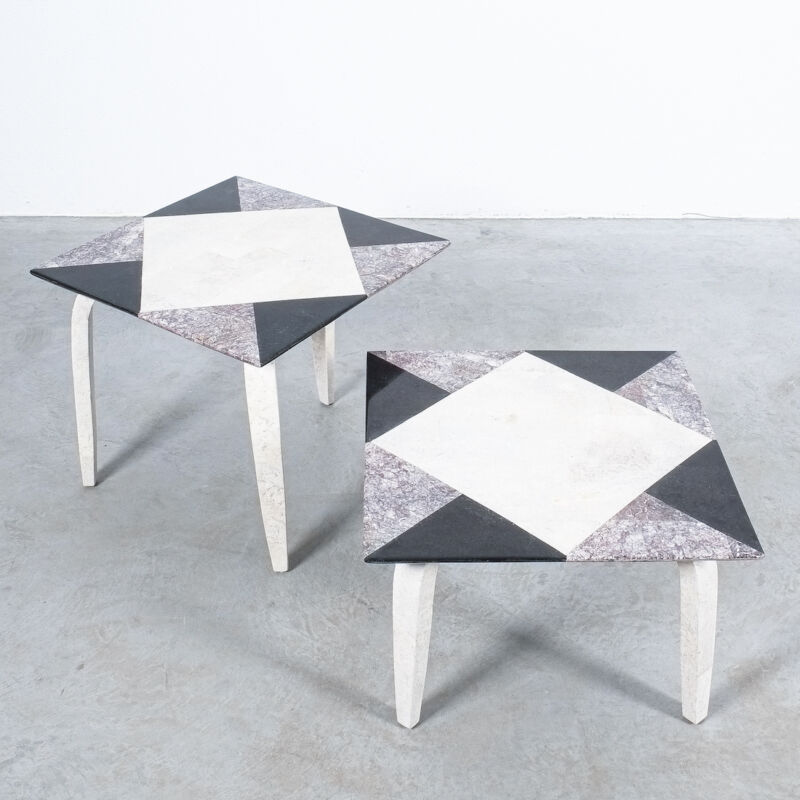 Marble Tile Tables Mosaic Pair 09