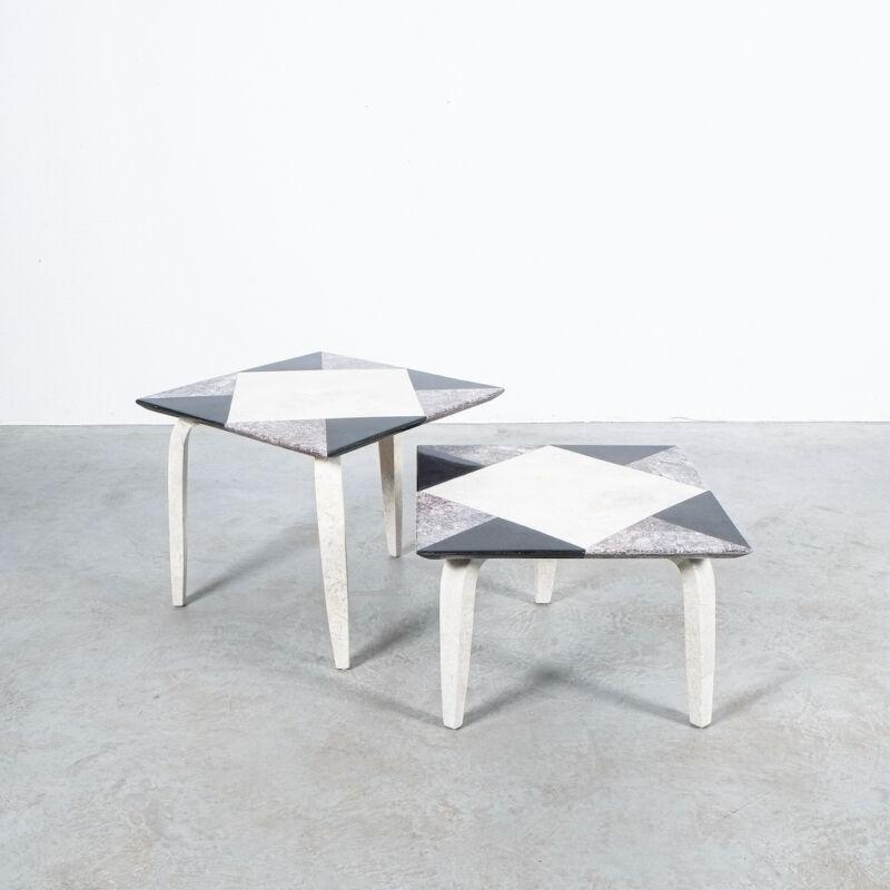 Marble Tile Tables Mosaic Pair 10