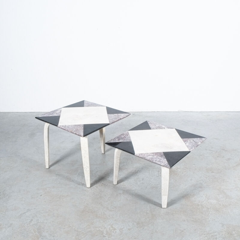 Marble Tile Tables Mosaic Pair 13