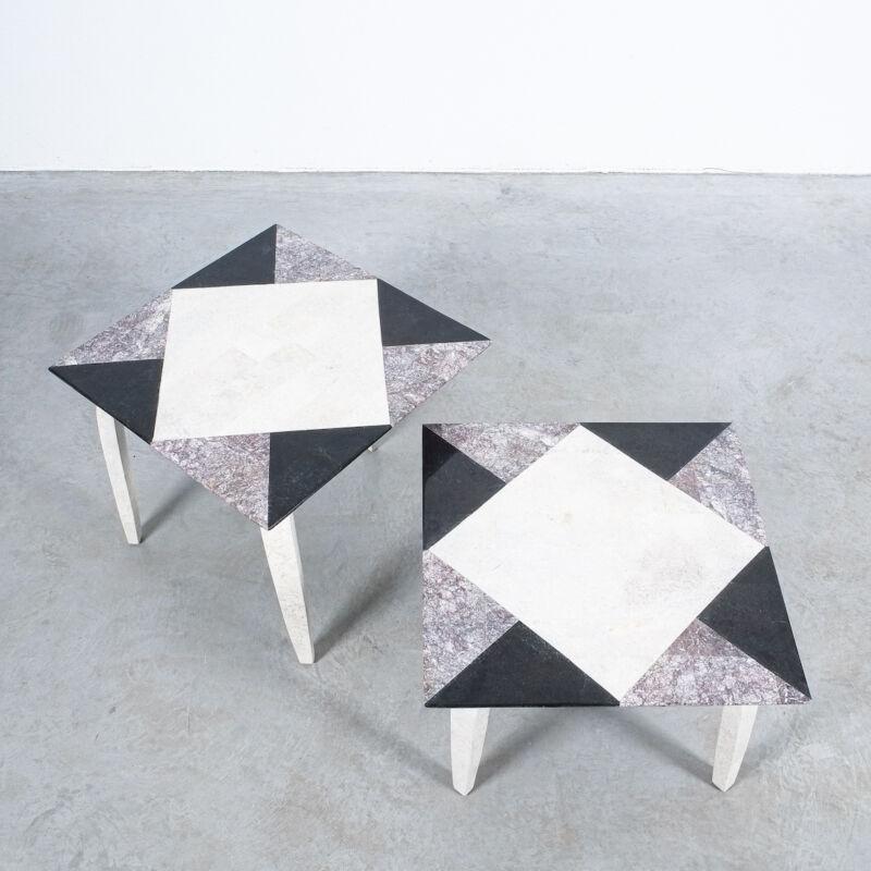 Marble Tile Tables Mosaic Pair 14