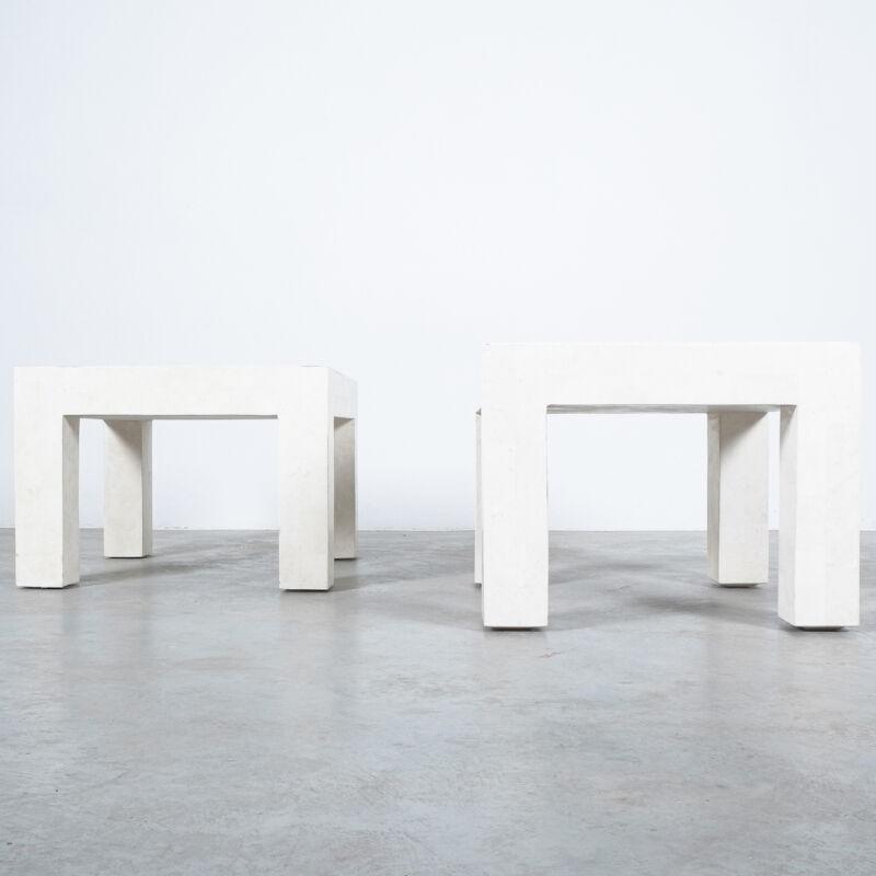 Marble Tile Tables White Pair 01