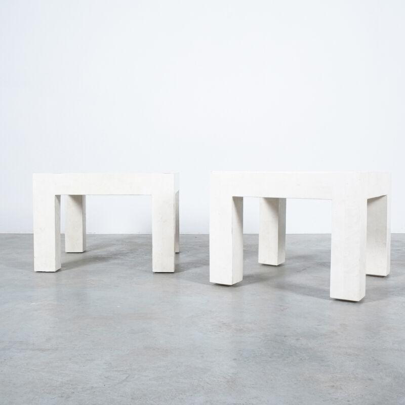 Marble Tile Tables White Pair 02