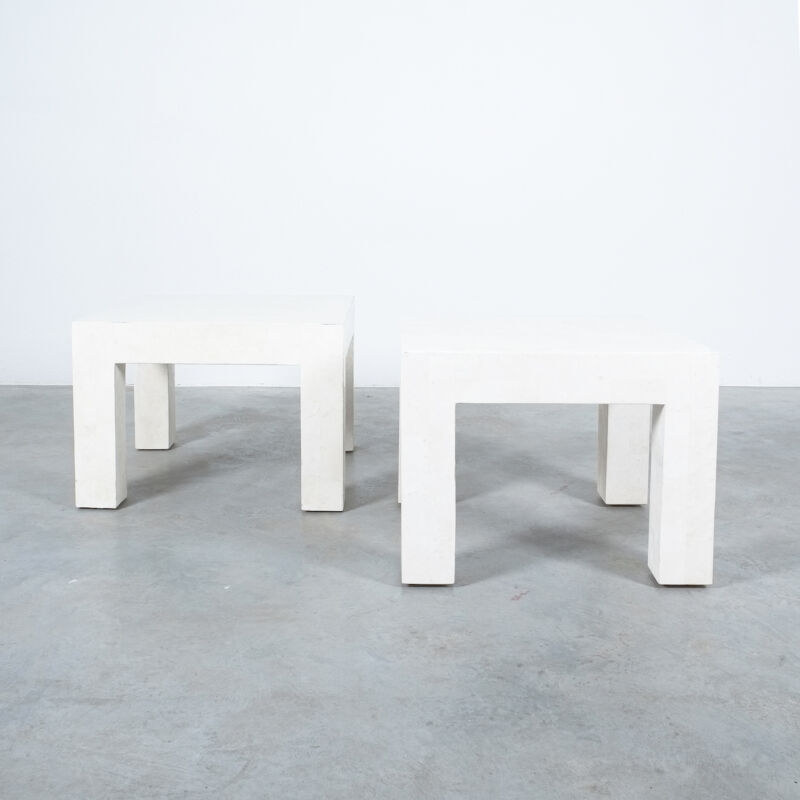 Marble Tile Tables White Pair 03