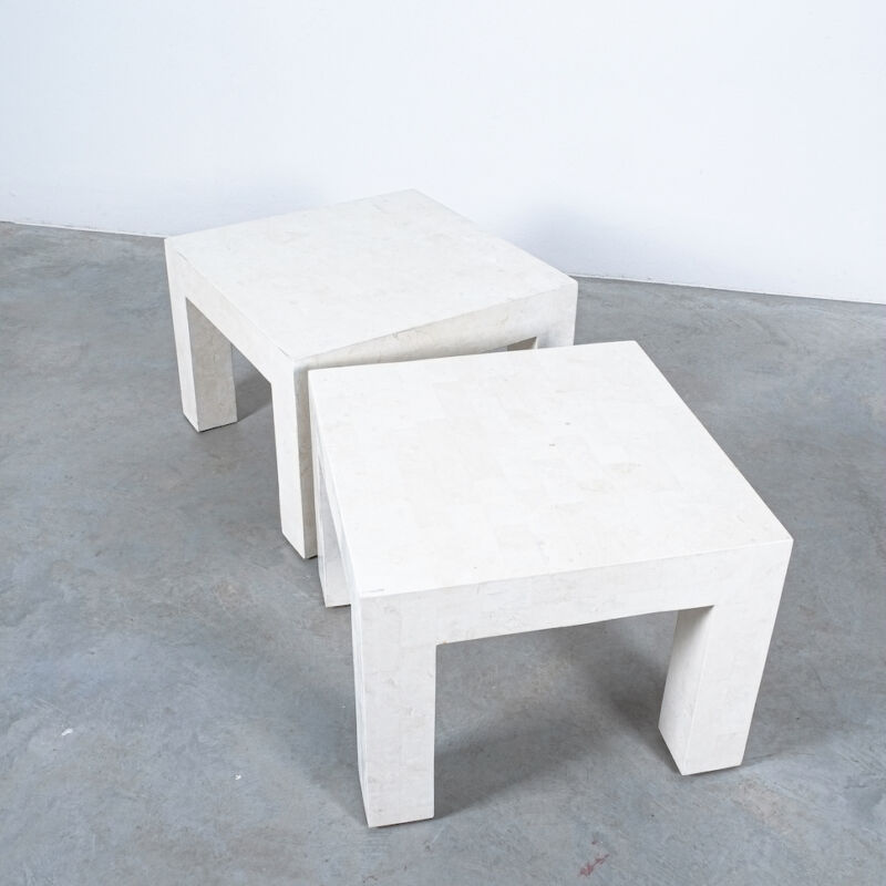 Marble Tile Tables White Pair 04