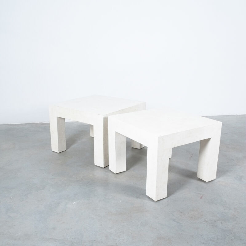 Marble Tile Tables White Pair 05