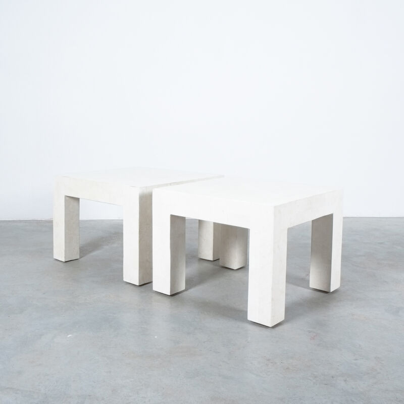 Marble Tile Tables White Pair 06