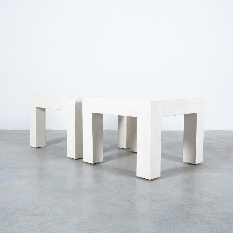 Marble Tile Tables White Pair 07